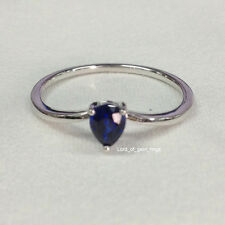 Pear Cut 4x5mm Ceylon Sapphire Solitaire Engagement Wedding Ring 14K White Gold
