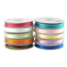 Satin Ribbon with Metallic Edge Trim 1/8-inch, 1/4-inch