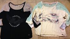 Roxy Womens 100% Cotton Top Two Designs - 3/4 Fishnet Sleeves New w/ Tags $37
