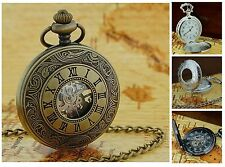 Jakob Strauss Antique Vintage Style Mechanical Date Pocket Watch Chain xmas Gift