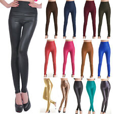 New Fashion Women´s Sexy Skinny Faux Leather High Waist Leggings Pants Tights