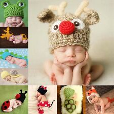 Baby Crochet Animal Costume Hat Photo Prop Suit For 0-6 Months Newborn Boy Girl