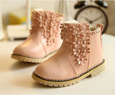 Baby Child Kids Girls Autumn Winter Princess PU Flower Martin Short Boots Shoes