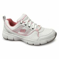 Womens Skechers Stolen White Pink Lightweight Gym Sports Trainers Shoes Size 4