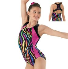 NEW Rainbow Zebra Pink Sparkle Slash Racer Back Gymnastics Leotard Child Adult