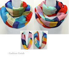 """Color Block Infinity Scarf Endless Loop 29"""" W x 70"""" L Bright Colors New in Pkg"""
