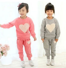 Fashion New Kids Toddler Heart Clothes Girls Baby Tops+Trousers Suit Sz12M-5Y