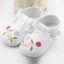 Baby Girls Embroidered Crib Shoes Faux Leather Soft Anti Slip Toddler Shoes G18