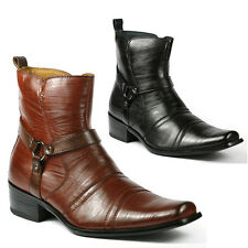 Delli Aldo Mens Buckle Strap Dress Ankle Boots Shoes w/ Leather Lining M-681