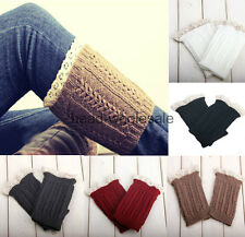 Women's Crochet Knitted Lace Trim Boot Cuffs Toppers Leg Warmers Socks 5 Colors