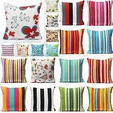 Luxury Rural Flower Stripe Home Decor Square Throw Pillow Case Cushion Cover NEW