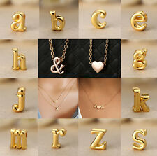 Personalized Gold Letter With Heart Pendant Diy Necklace Jewelry Women Girl Gift