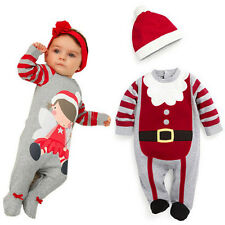 New Baby Christmas Cloths Outfits Boy Girl Kid Romper Hat Cap Set Gift for 6-24M