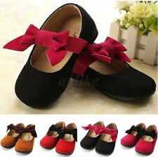2015 New Kids Toddler Baby Girls Fall Big Bow Cute Princess Flats Leather Shoes