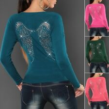 Women's Lace & Rhinestones Angel Wing Knit Long Pullover Sweater- S/M (US 2-4-6)