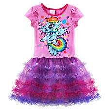 New My Little Pony Girl Kid Short Sleeve Tulle Tutu Cake Dresses Skirt Size 4-6X
