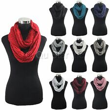 New Fashion Double Layer Knitted Neck Warmer Zig Zag Pattern Cowl Infinity Scarf