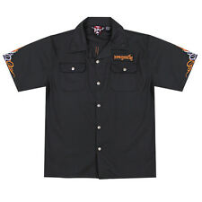 Dragonfly Roadhouse Tribal Bike Black Button up Short Sleeve Shirt