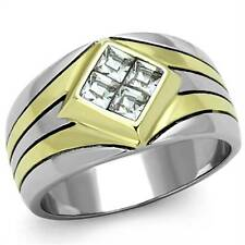 MEN'S .72CT PRINCESS CUT SIMULATED DIAMOND TWO TONE STAINLESS STEEL RING SZ 8-13