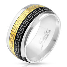 Stainless Steel Men's Black & Gold Greek Key Dual Spinning Band Ring Size 9-13