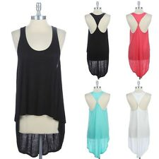 Twisted Open Back Tank Top Scoop Neck Draped High Low Hem Casual Rayon S M L