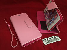 PINK LEATHER FLIP COVER WALLET CASE & CLEAR SCREEN PROTECTOR FOR IPHONE 6 PLUS