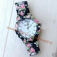 GENEVA Flower Printed Watch Fashion Women Bracelets Quartz Dress Watches Gift