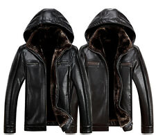 Winter Men's Fur Coat faux Leather Sheepskin Stand Collar Hooded Jacket M-3XL