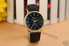 Geneva Simple Face Gold Dial Leather Band Fashion Men Women Quartz Wristwatches