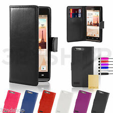 NEW Huawei Ascend G7 PU Leather Book Wallet Case Cover + Free Gift