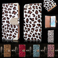 For Apple iPhone Leopard PU Leather Luxury Bling Wallet Magnetic Flip Case Cover
