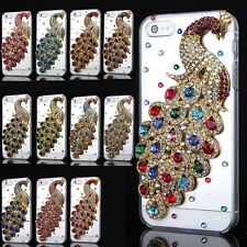 For iPhone 4 4S 5 5S Crystal Peacock Handmade Diamond Luxury Bling Case Cover