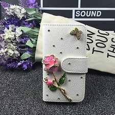 Bling rose Wallet Card Holder PU Leather Phone Flip Case Cover FOR HTC