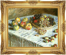 Framed Claude Monet Still Life Apples and Grapes Fruit Painting Repro Canvas Art