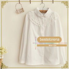 MORI Lolita French Toast Blouse Embroidery Lace Collar White Shirt Long Sleeve