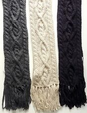 ZARA Kids Boys Knitted GREY BLUE Chunky Cable Tassle Winter Scarf One Size £12.9