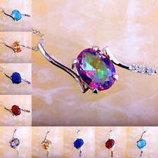 Xmas Gift Rainbow &Blue Topaz Morganite Ruby Spinel Gems Silver Pendant Necklace