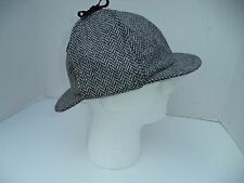 3XL Irish Tweed Hanna Hat Deerstalker Sherlock Holmes black gray herringbone