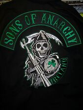 SONS OF ANARCHY IRELAND BEAUTIFUL EMBROIDERED UNLINED ZIP UP JACKET NEW !