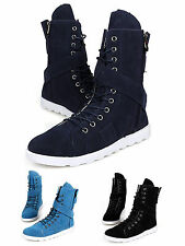 Men Comfortable Padded Insole Lace Up High Top Shoes Casual Sneakers Boot Zipper