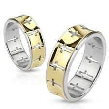 316L Stainless Steel Gold Striped Cross Pattern Band Ring Size 5-13