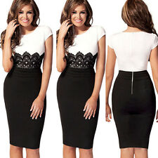 █ Women Celeb Lace Wear to Work Evening Cocktail Party Bodycon Slim Pencil Dress