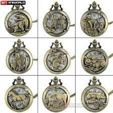 Lot Bronze Antique Animals Pattern Quartz Hunter Pocket Watch + Necklace Chain
