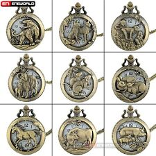Retro Hollow Pocket Watch Animal Pendant Vintage Quartz Necklace Steampunk Gift
