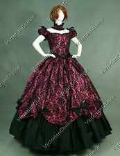 Southern Belle Victorian Brocade Dress Period Ball Gown Reenactment Clothing 323