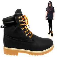 WOMENS LADIES ZIP COMBAT HEEL LACE ANKLE FAUX LEATHER BIKER WINTER BOOTS TRAINER