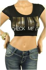 DEALZONE Beautiful CHECK ME OUT Decal Top L S Large Small Women Black Casual
