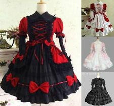 Ladies Gothic Victorian Cotton Lace Bow Cosplay Lolita Dress Costume Black/Red