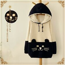 Japanese Mori Girl Kawaii Cat Face Tail Hoodie With Hat Cute Sweater Shirt NEW