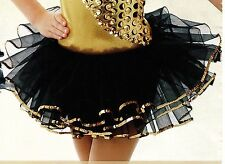 NWT Black nylon net tutu w/ gold sequin trim girls /ladies szs